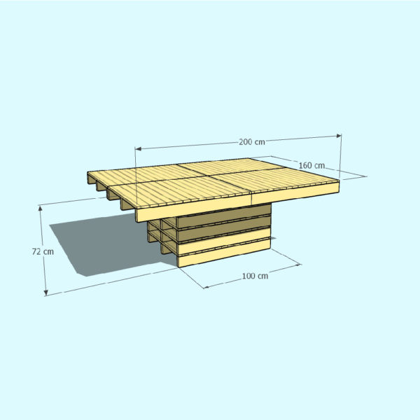 TURIN afmetingen - Pallet tafel - Pop Up Pallets